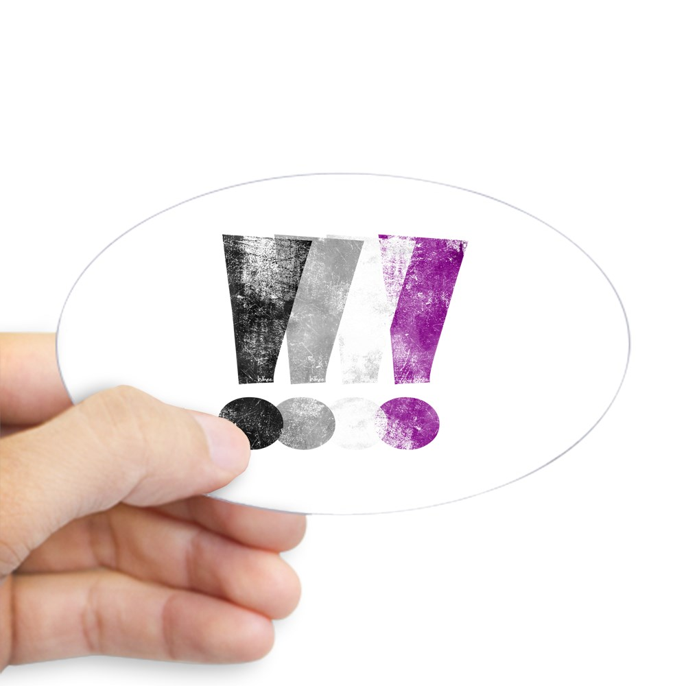 Distressed Asexual Pride Exclamation Points Oval Sticker
