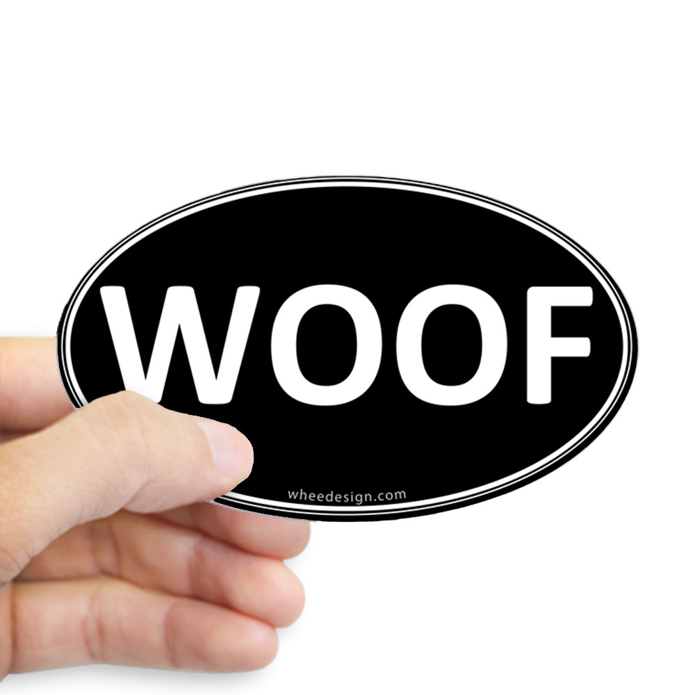 WOOF Black Euro Oval Oval Sticker