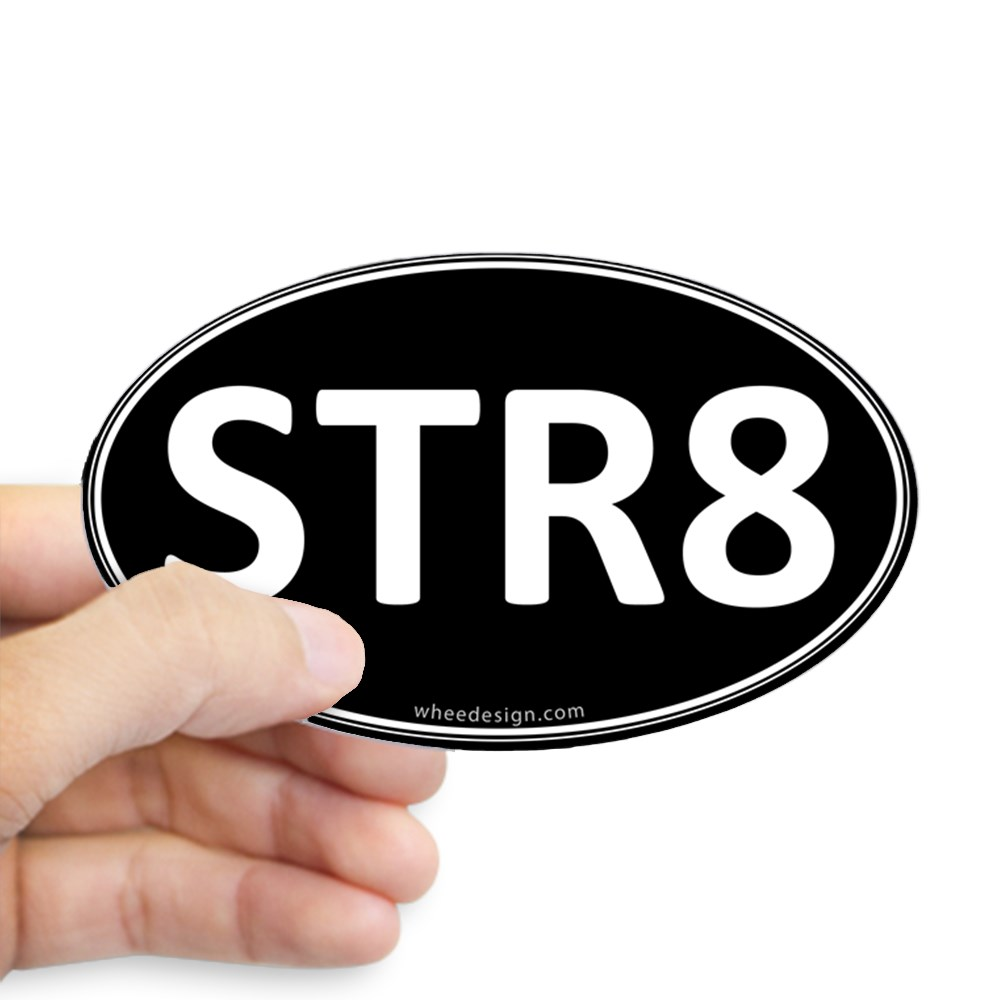 STR8 Black Euro Oval Oval Sticker