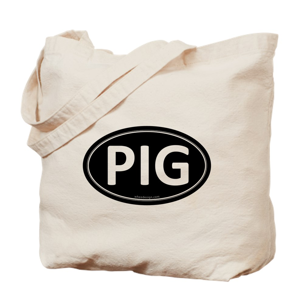 PIG Black Euro Oval Tote Bag