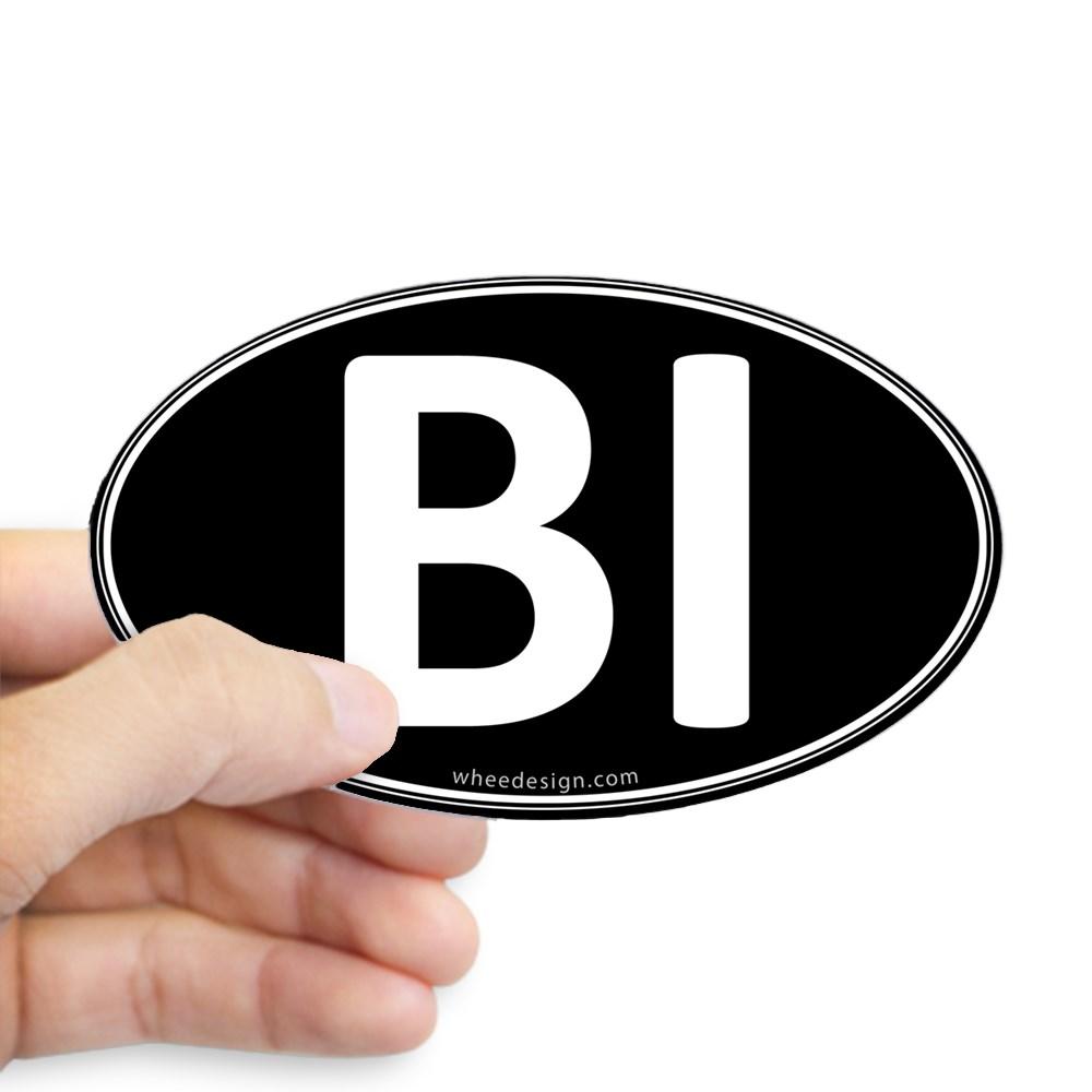 BI Black Euro Oval Oval Sticker
