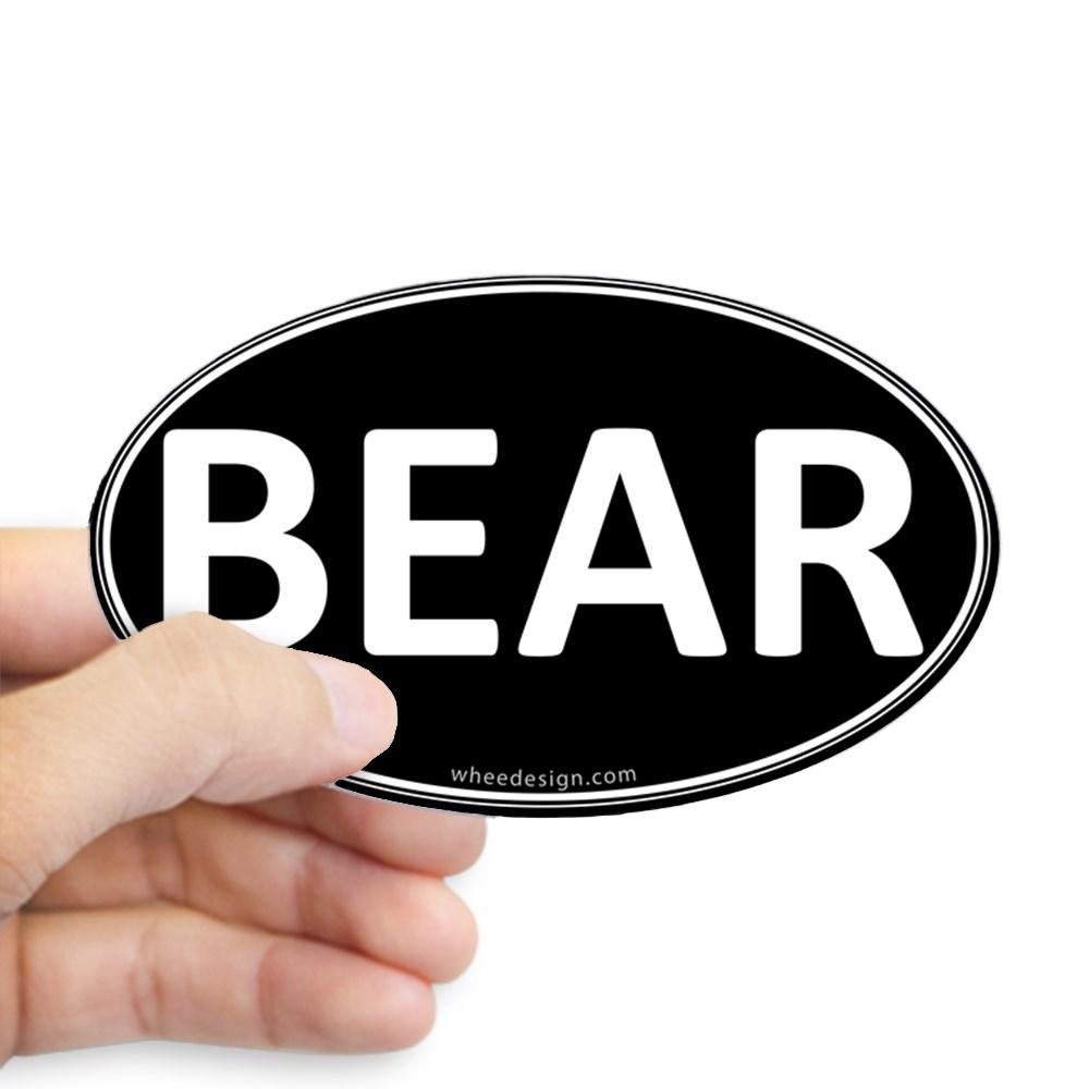 BEAR Black Euro Oval Oval Sticker
