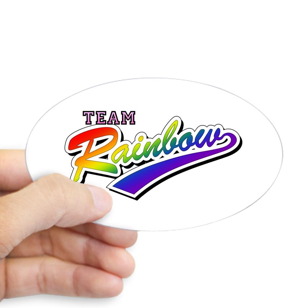 Team Rainbow LGBT Gay Pride Oval Sticker
