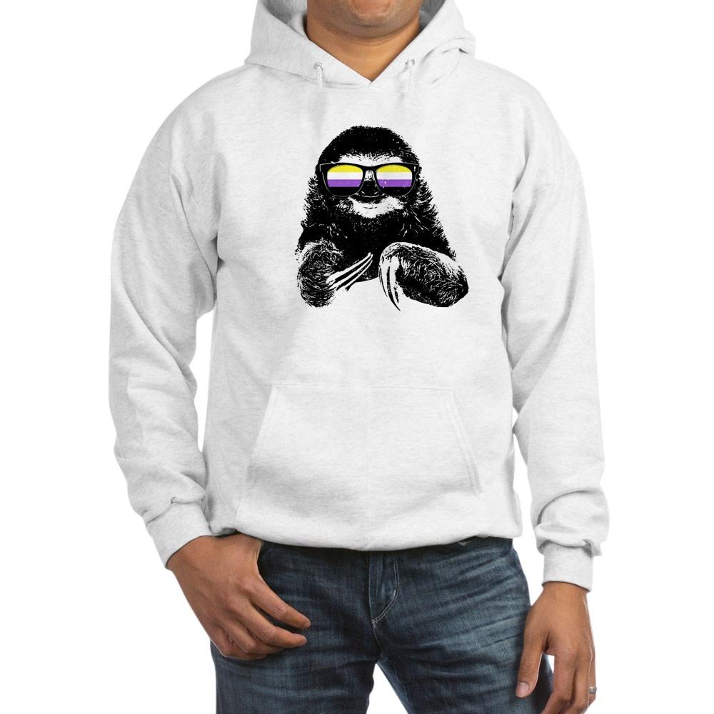 Pride Sloth Nonbinary Flag Sunglasses Hooded Sweatshirt