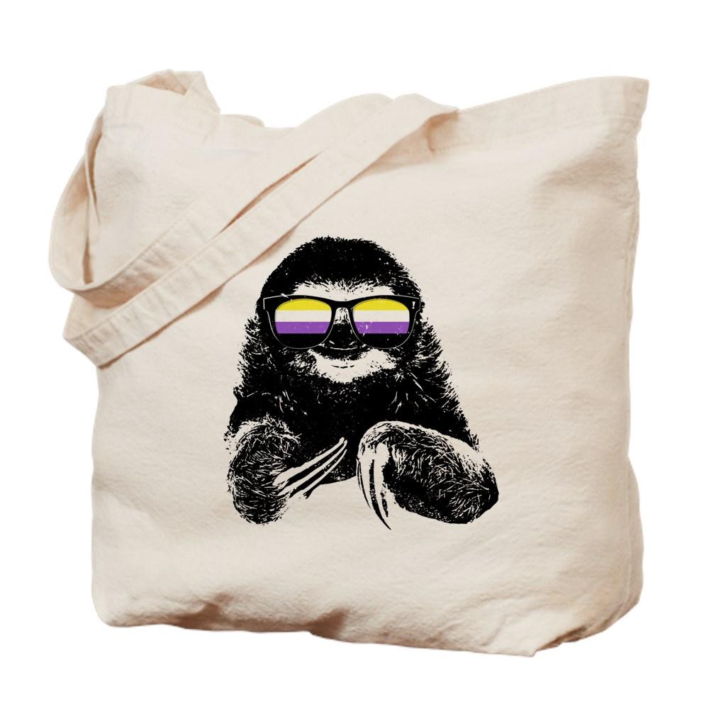 Pride Sloth Nonbinary Flag Sunglasses Tote Bag