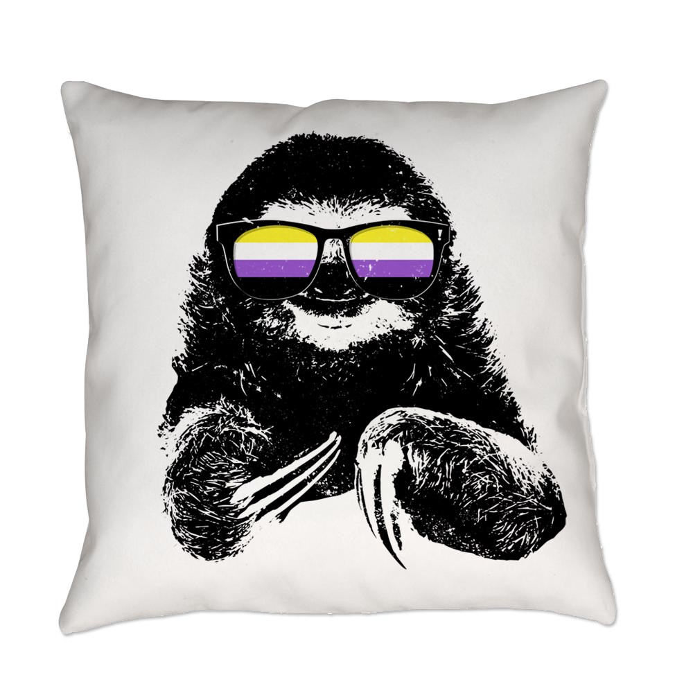 Pride Sloth Nonbinary Flag Sunglasses Everyday Pillow