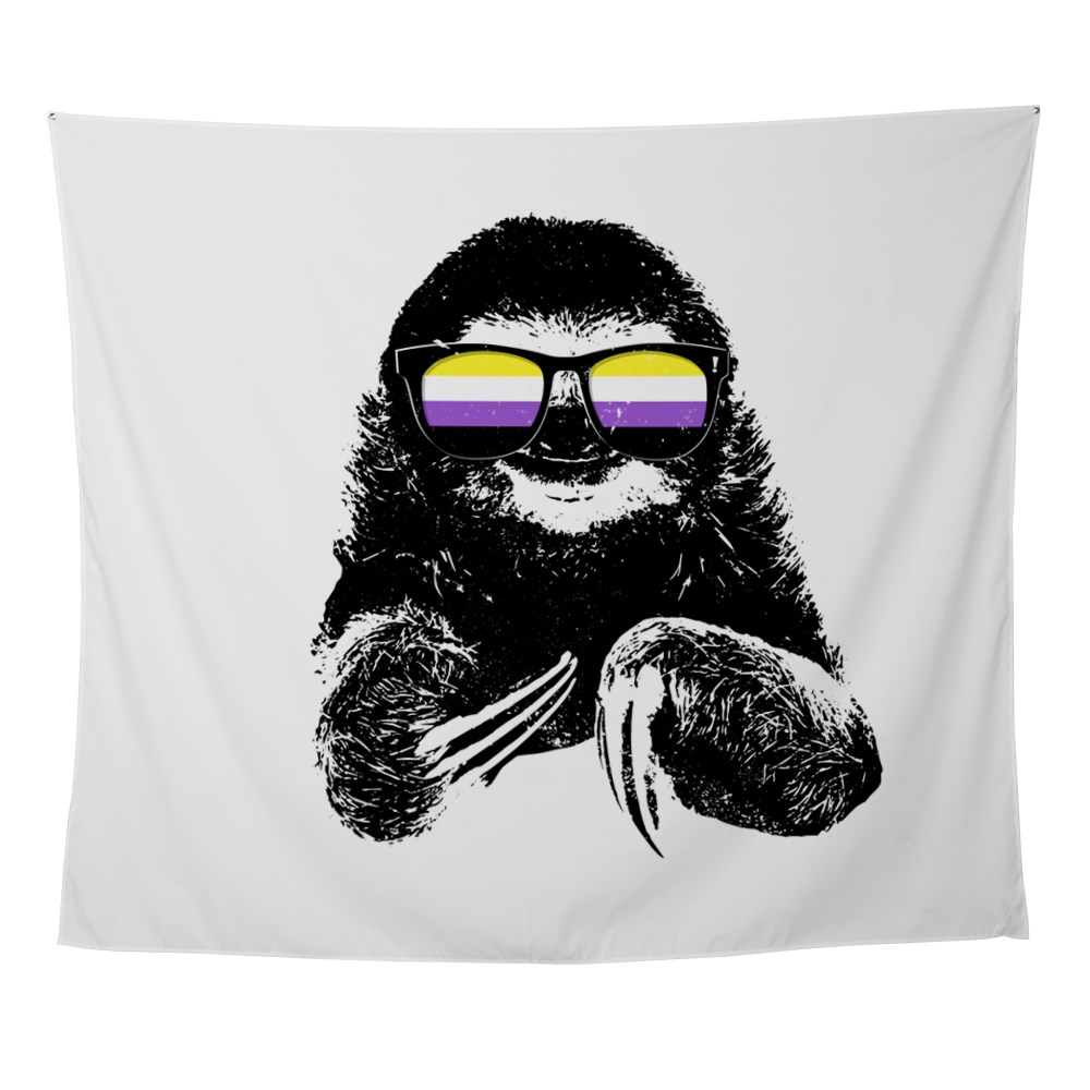 Pride Sloth Nonbinary Flag Sunglasses Wall Tapestry