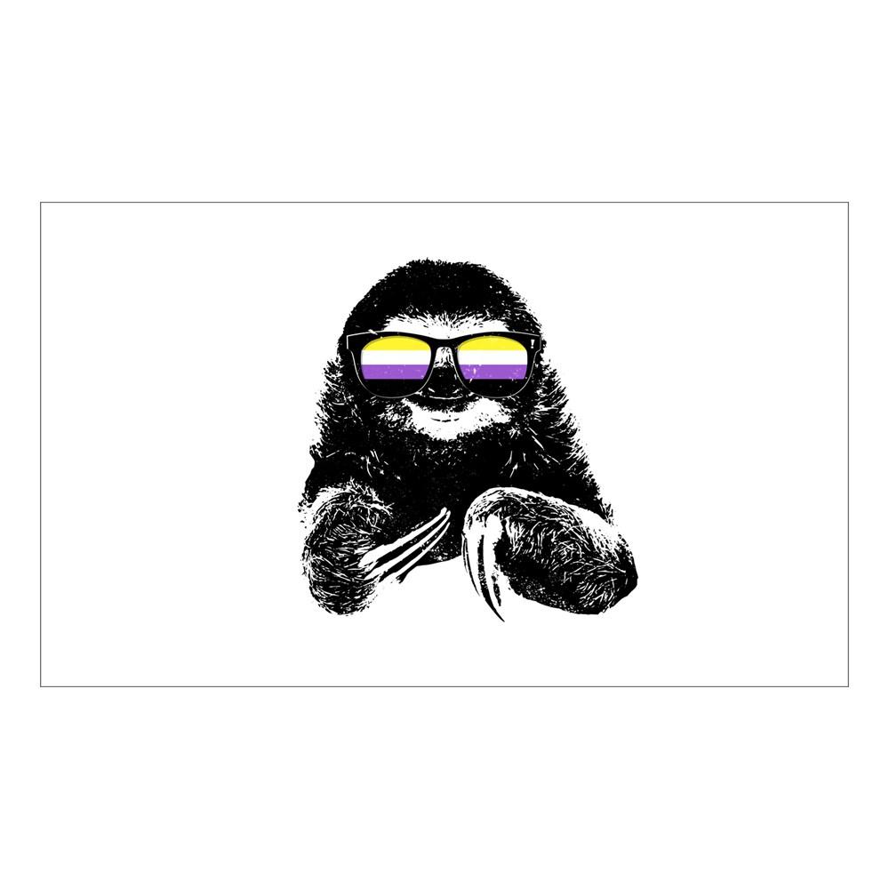 Pride Sloth Nonbinary Flag Sunglasses Rectangle Sticker