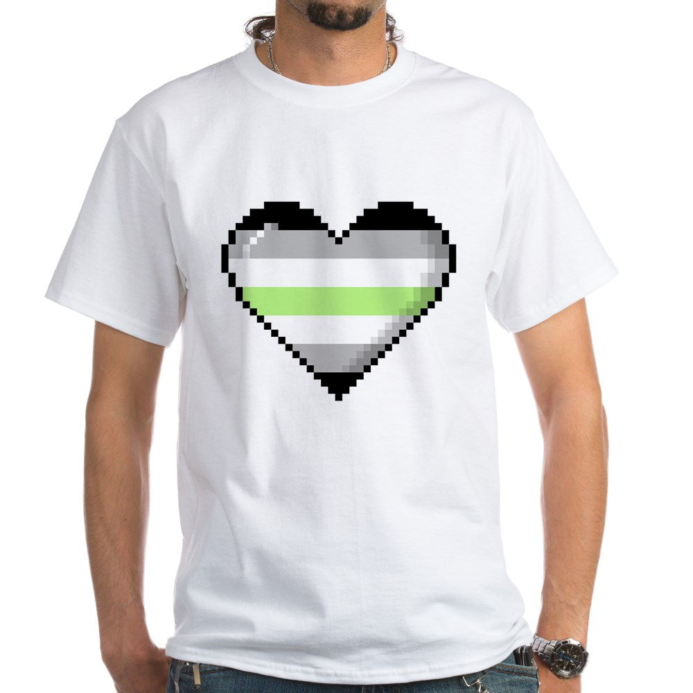 Agender Pride 8-Bit Pixel Heart White T-Shirt