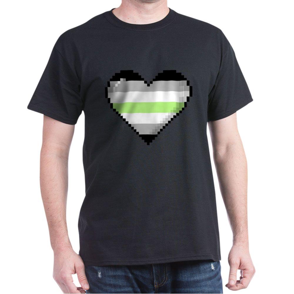 Agender Pride 8-Bit Pixel Heart Dark T-Shirt