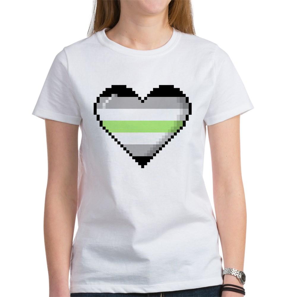 Agender Pride 8-Bit Pixel Heart Women's T-Shirt