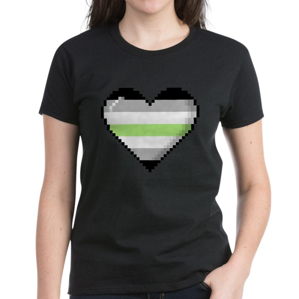 Agender Pride 8-Bit Pixel Heart Women's Dark T-Shirt