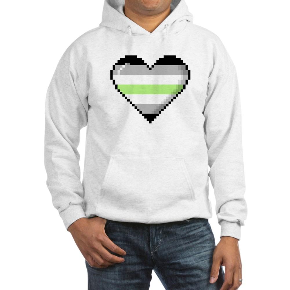 Agender Pride 8-Bit Pixel Heart Hooded Sweatshirt