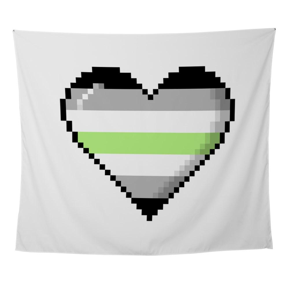 Agender Pride 8-Bit Pixel Heart Wall Tapestry