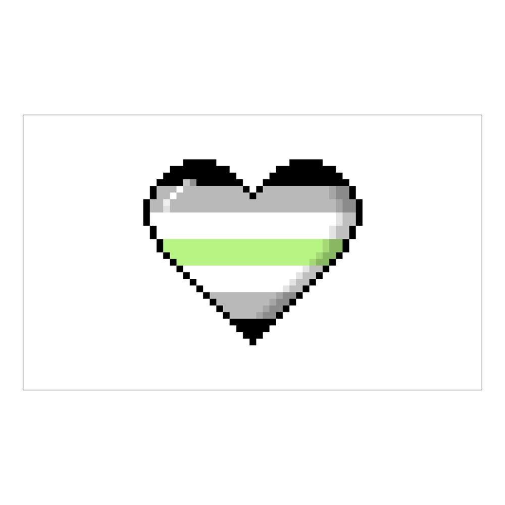 Agender Pride 8-Bit Pixel Heart Rectangle Sticker