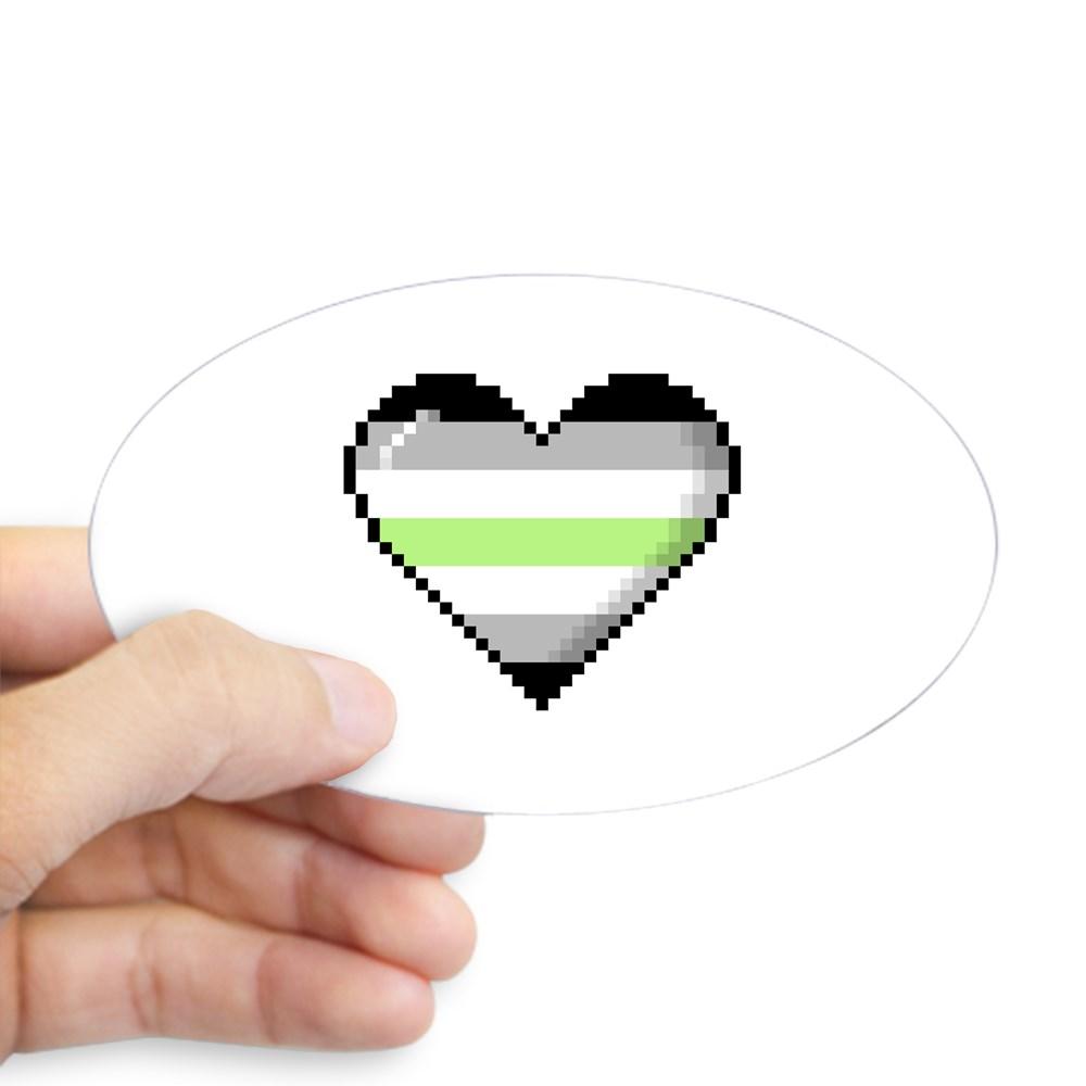 Agender Pride 8-Bit Pixel Heart Oval Sticker