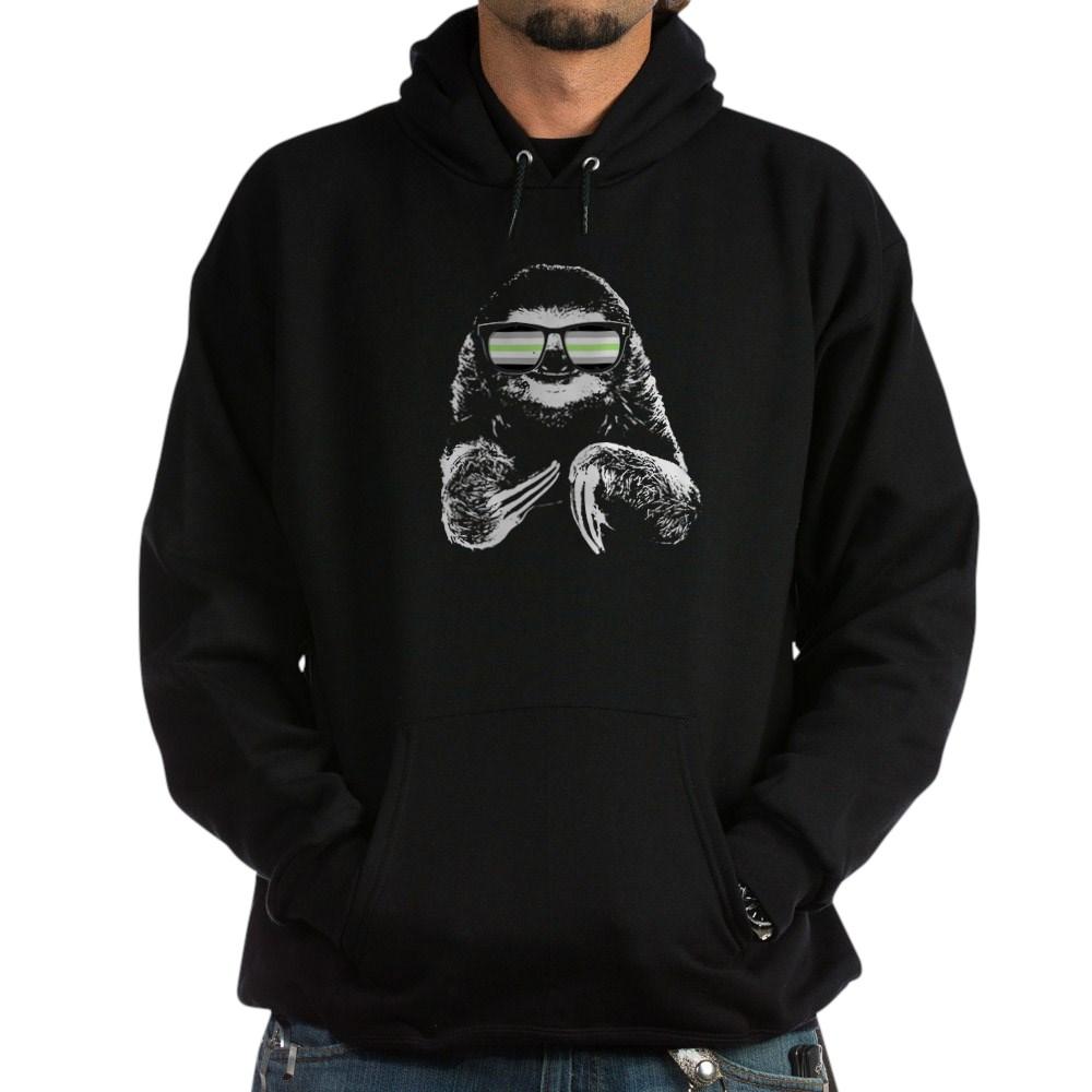 Pride Sloth Agender Flag Sunglasses Dark Hoodie