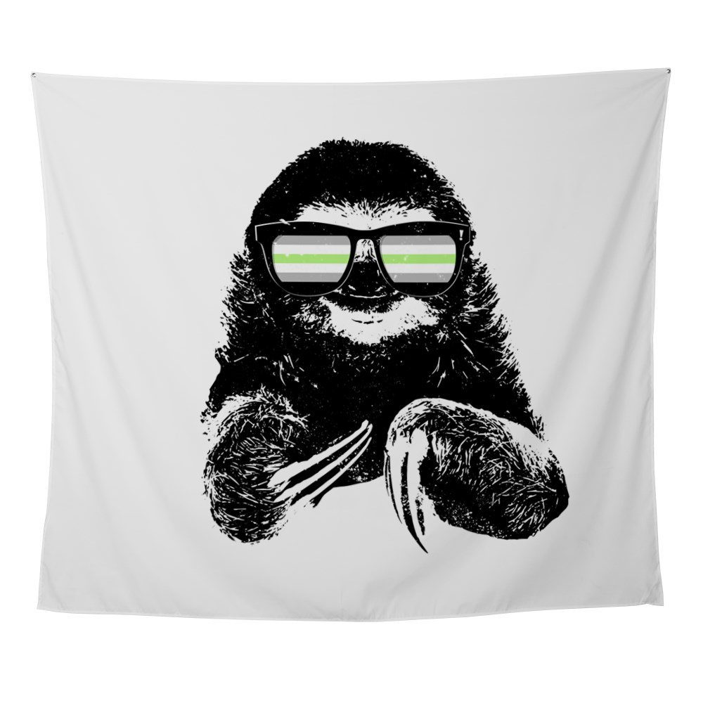 Pride Sloth Agender Flag Sunglasses Wall Tapestry