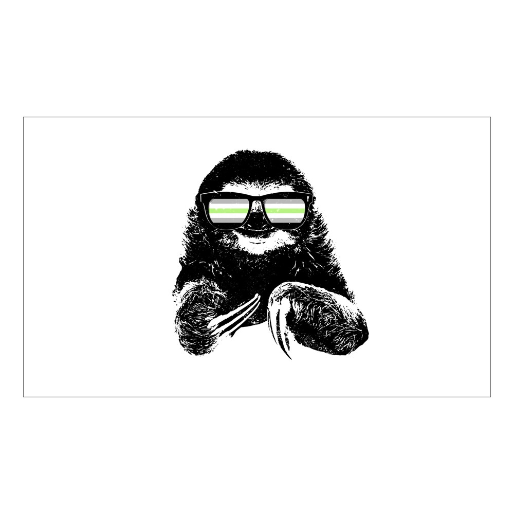 Pride Sloth Agender Flag Sunglasses Rectangle Sticker