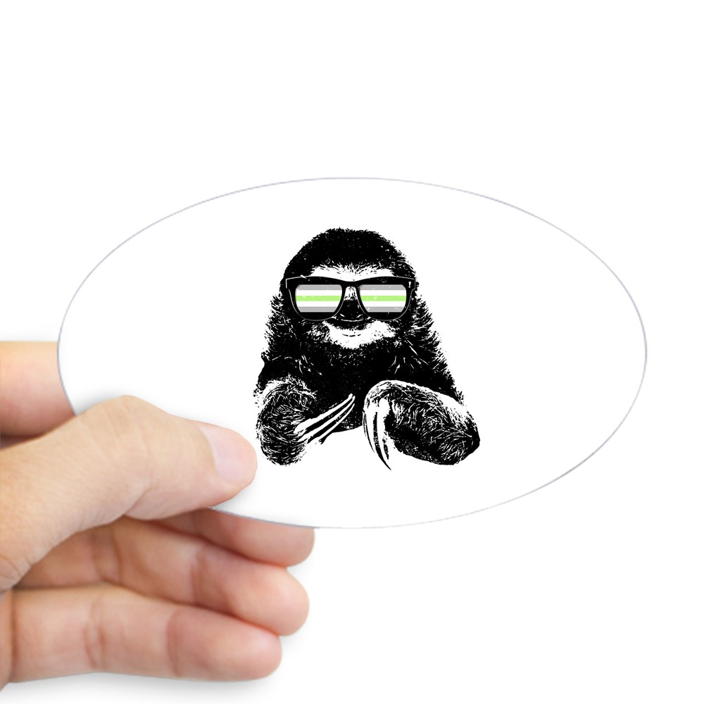 Pride Sloth Agender Flag Sunglasses Oval Sticker