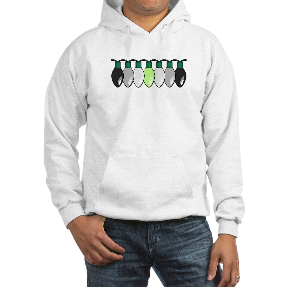 Agender Pride Flag Christmas Lights Hooded Sweatshirt