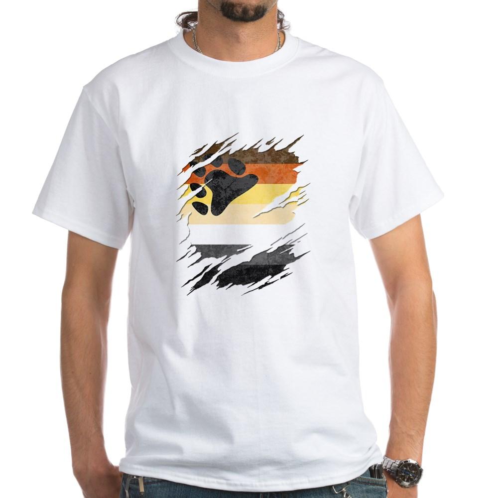 Gay Bear Pride Flag Ripped Reveal White T-Shirt
