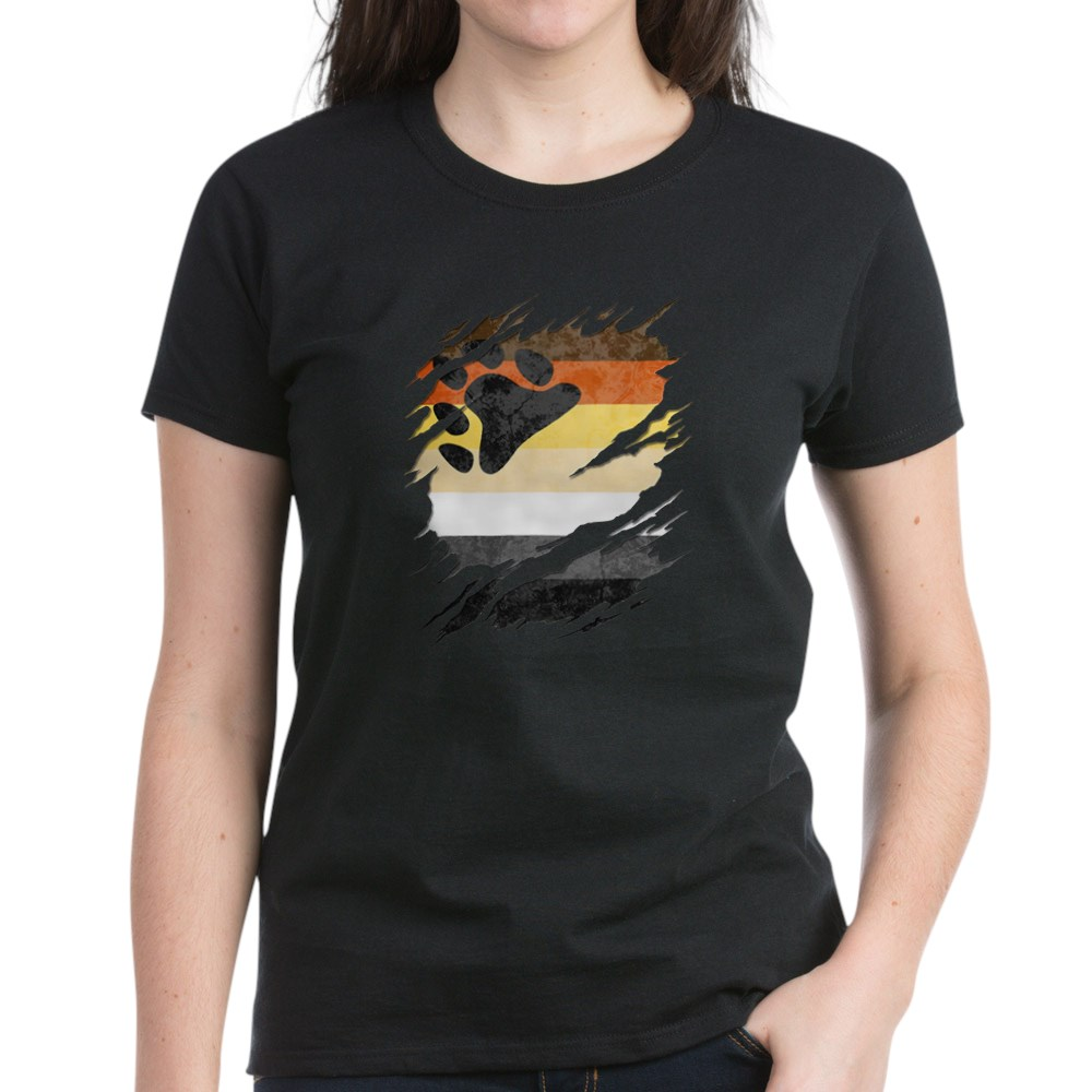 Gay Bear Pride Flag Ripped Reveal Women's Dark T-Shirt