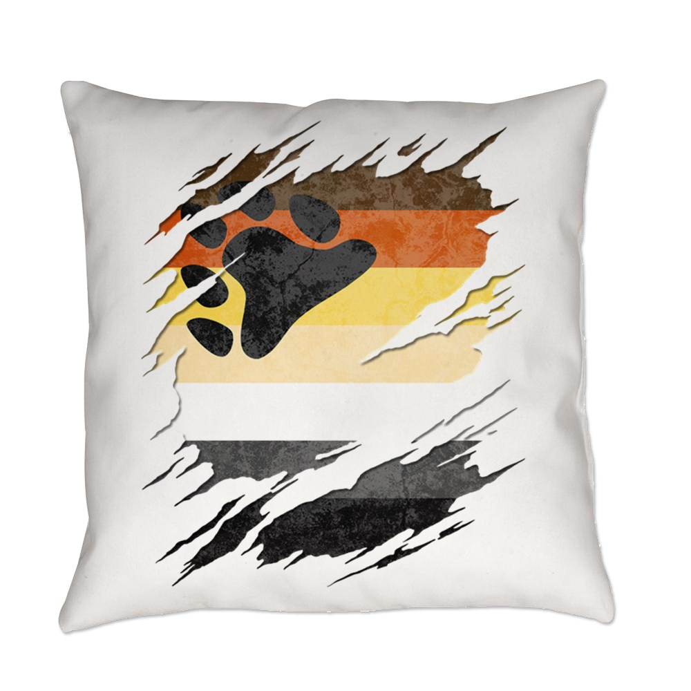 Gay Bear Pride Flag Ripped Reveal Everyday Pillow
