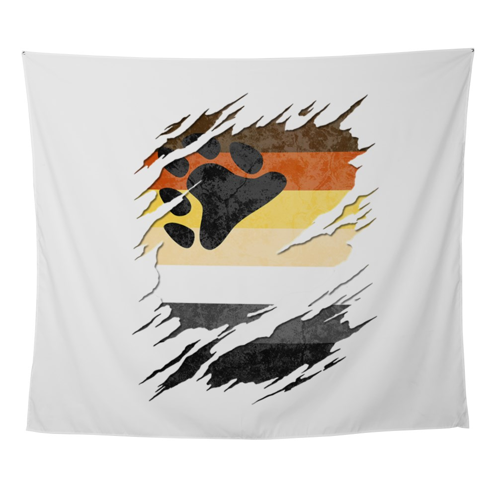 Gay Bear Pride Flag Ripped Reveal Wall Tapestry