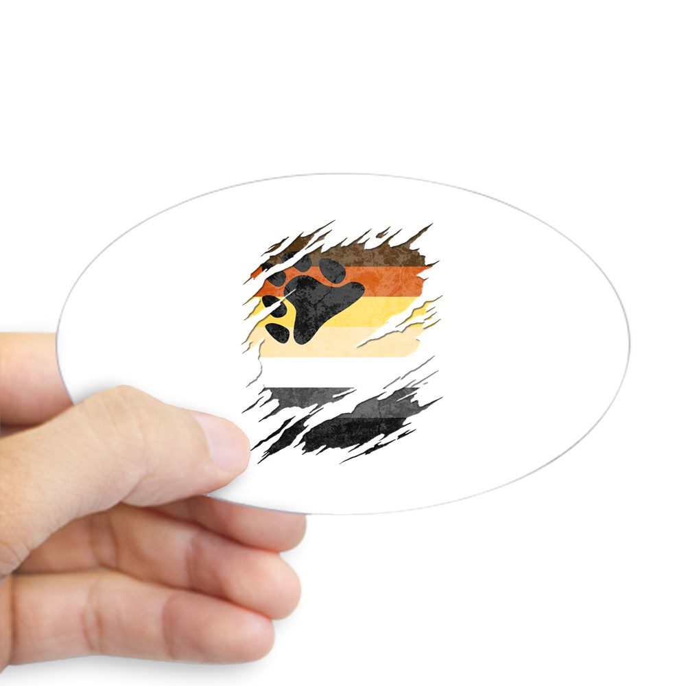 Gay Bear Pride Flag Ripped Reveal Oval Sticker