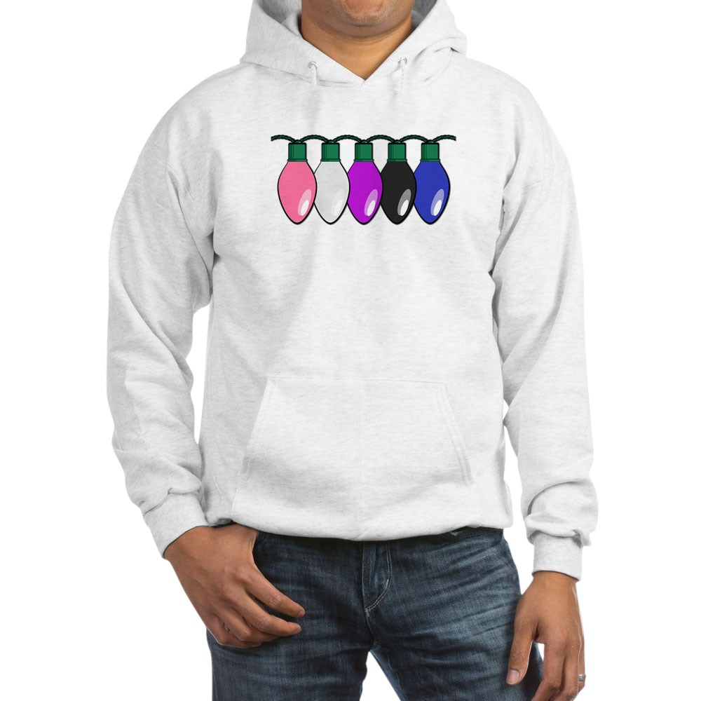 Genderfluid Pride Flag Christmas Lights Hooded Sweatshirt