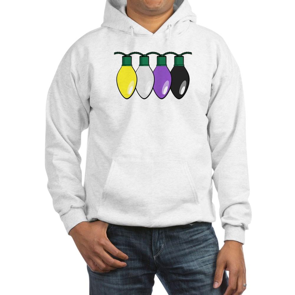 Nonbinary Pride Flag Christmas Lights Hooded Sweatshirt