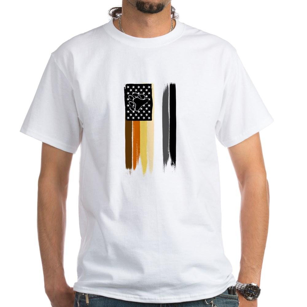 Gay Bear Pride American Flag White T-Shirt