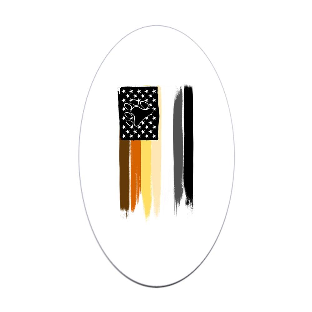Gay Bear Pride American Flag Oval Sticker