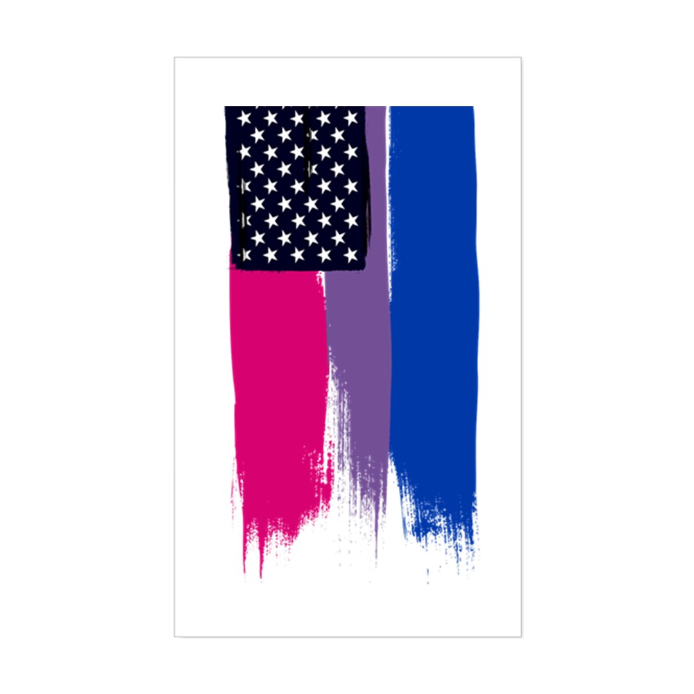 Bisexual Pride Stars and Stripes Flag Rectangle Sticker