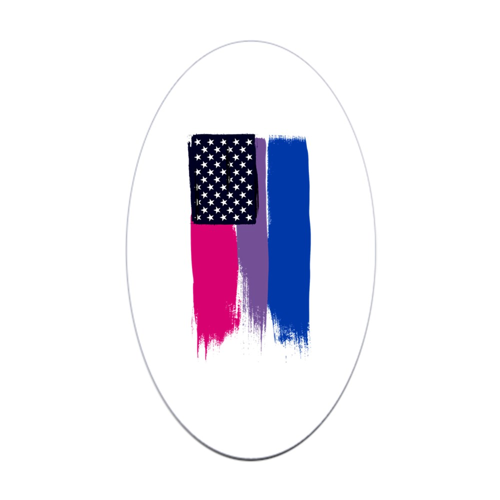 Bisexual Pride Stars and Stripes Flag Oval Sticker