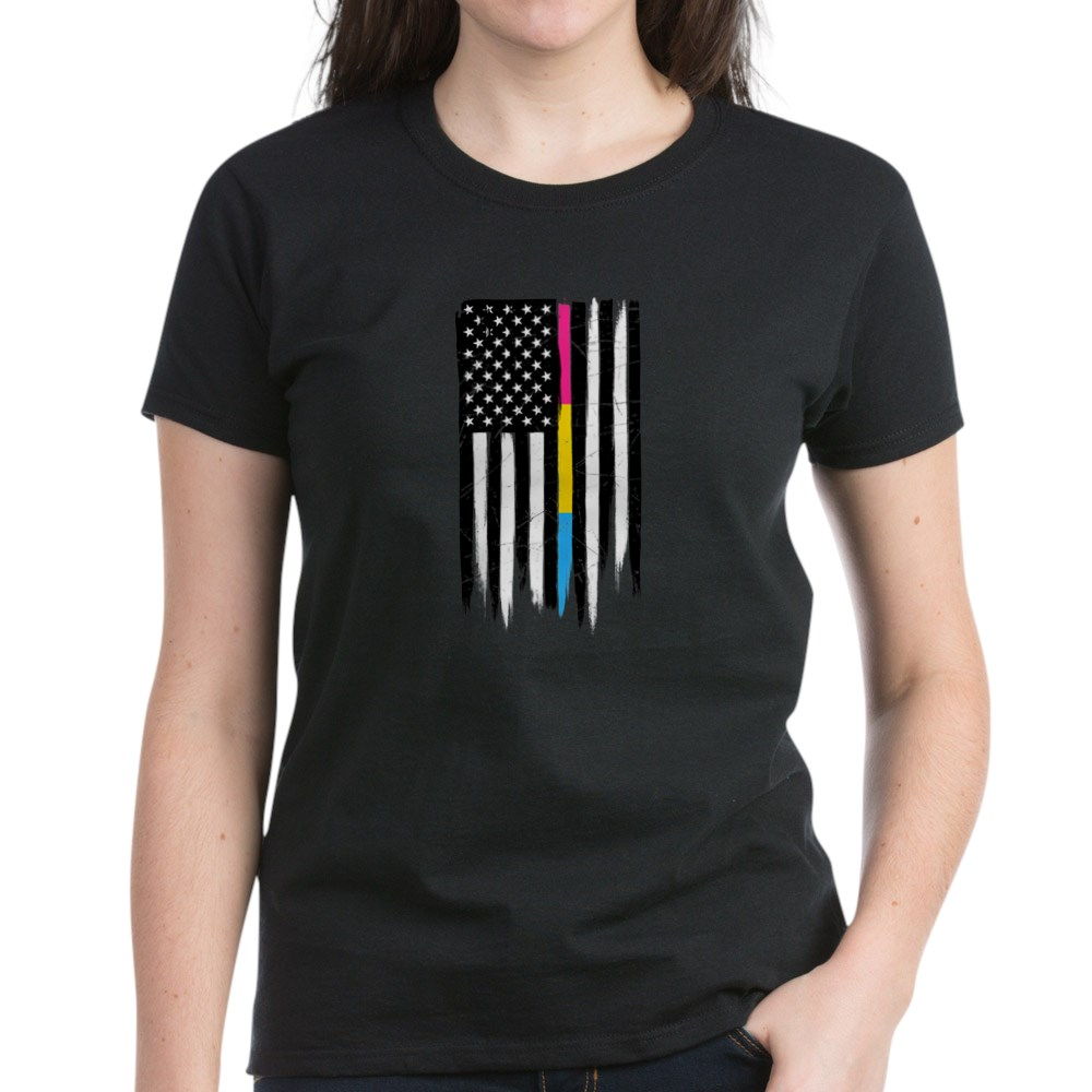 Pansexual Pride Thin Line American Flag Women's Dark T-Shirt