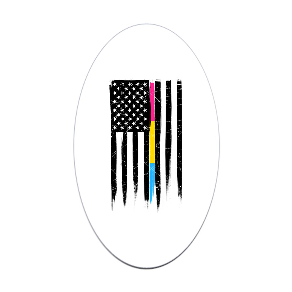 Pansexual Pride Thin Line American Flag Oval Sticker