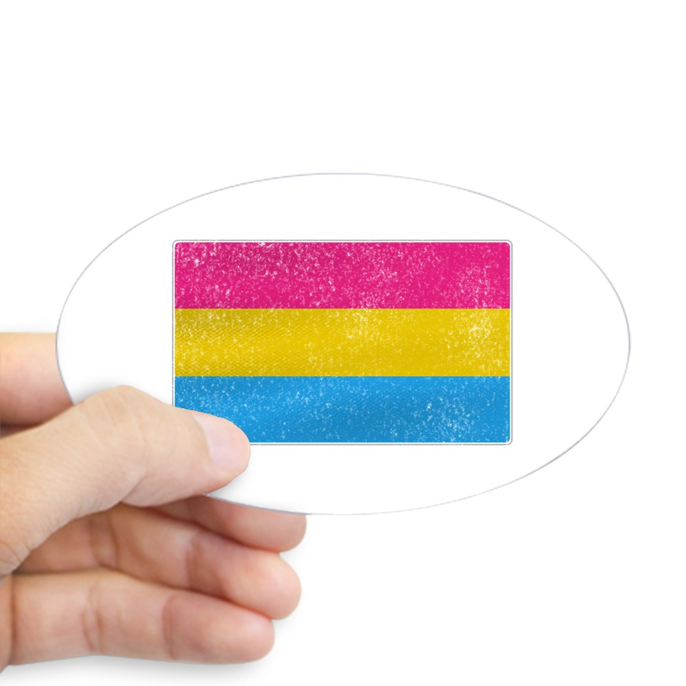 Distressed Pansexual Pride Flag Oval Sticker