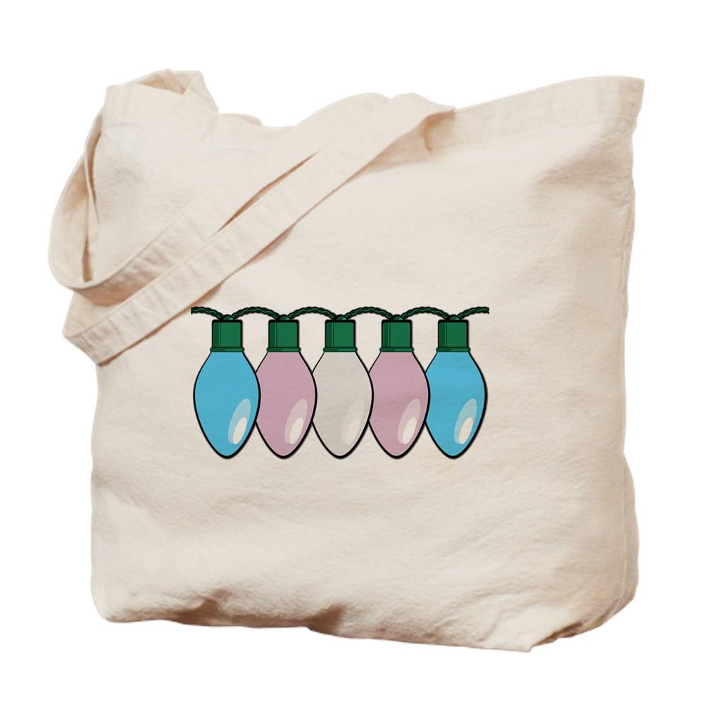 Transgender Pride Flag Christmas Lights Tote Bag