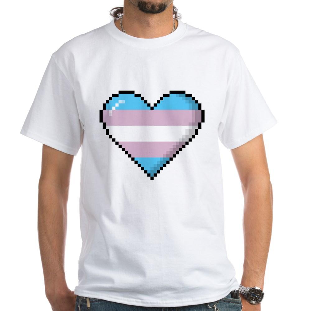 Transgender Pride 8-Bit Pixel Heart White T-Shirt