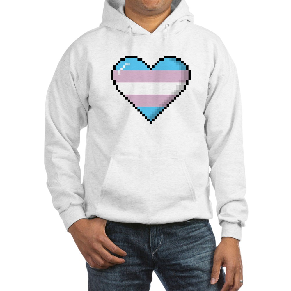 Transgender Pride 8-Bit Pixel Heart Hooded Sweatshirt