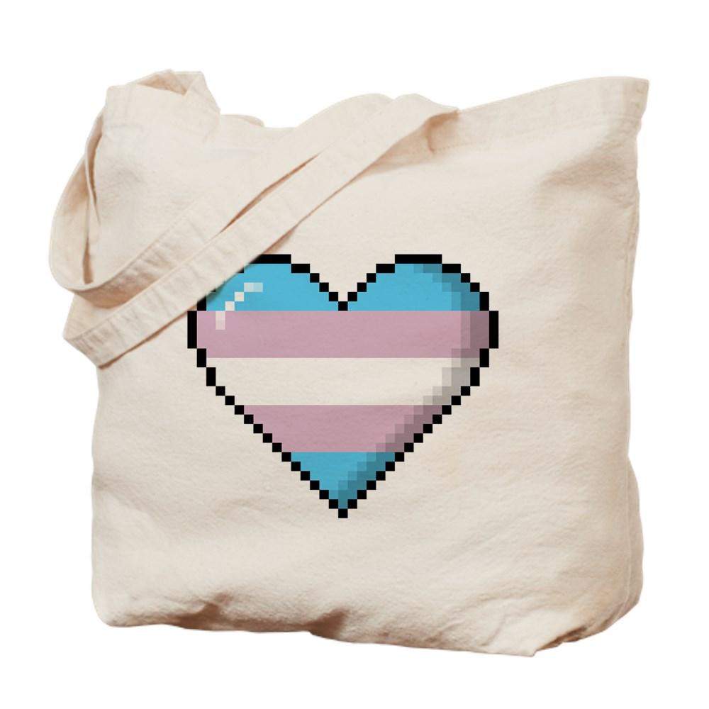 Transgender Pride 8-Bit Pixel Heart Tote Bag