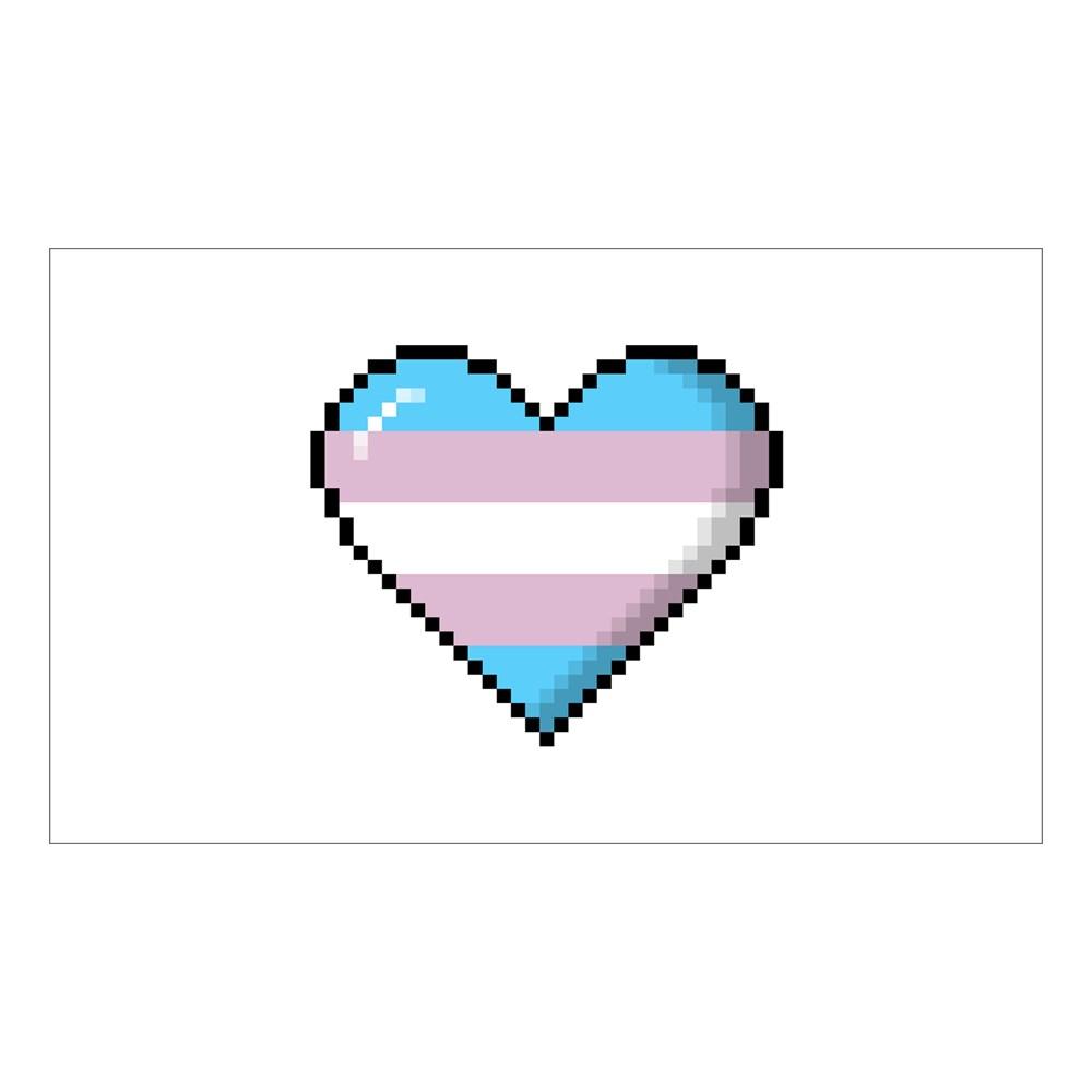 Transgender Pride 8-Bit Pixel Heart Rectangle Sticker