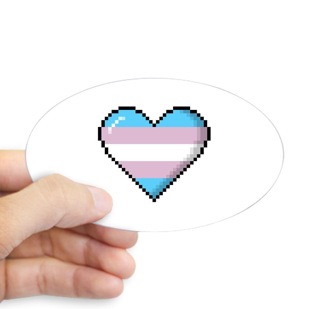 Transgender Pride 8-Bit Pixel Heart Oval Sticker