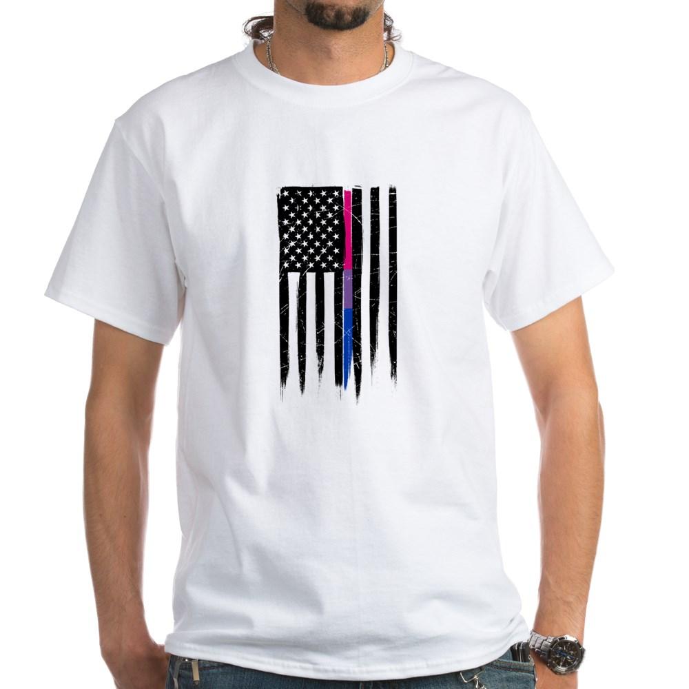 Bisexual Pride Thin Line American Flag White T-Shirt