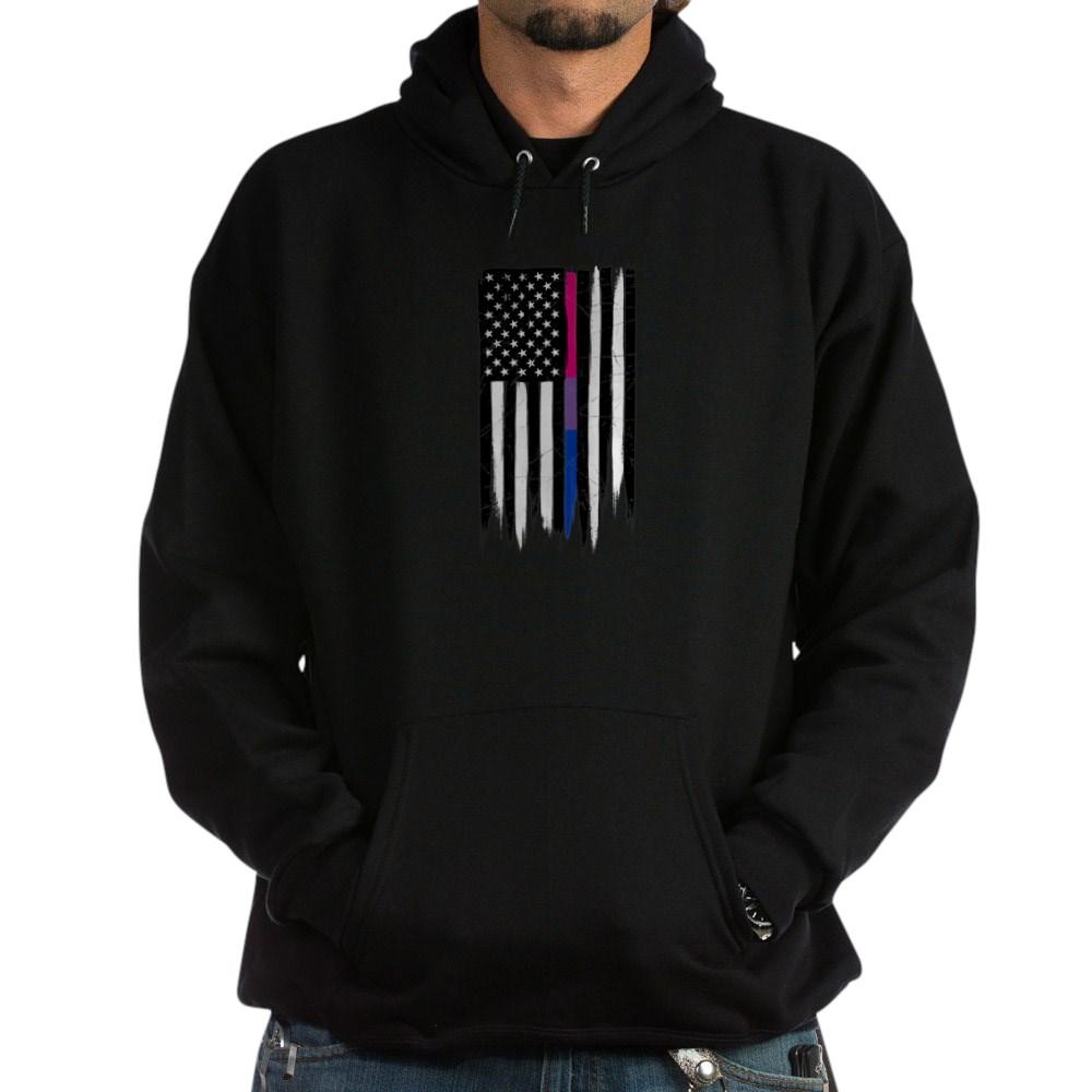 Bisexual Pride Thin Line American Flag Dark Hoodie