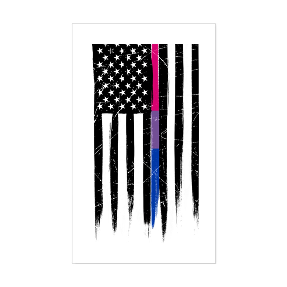 Bisexual Pride Thin Line American Flag Rectangle Sticker