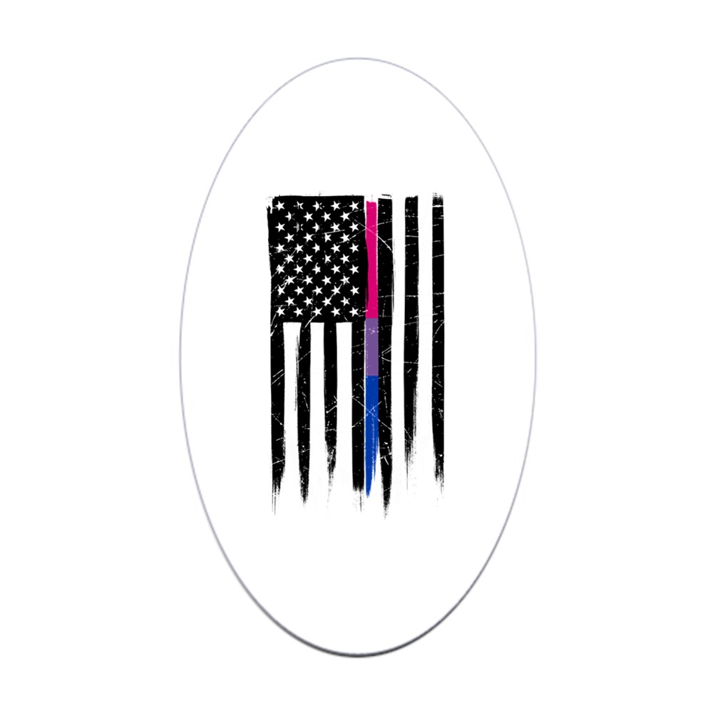 Bisexual Pride Thin Line American Flag Oval Sticker