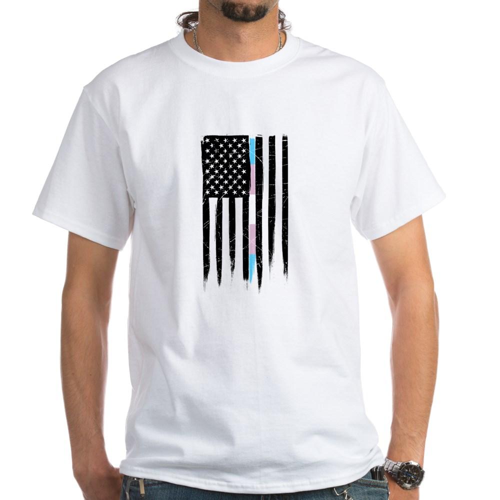 LGBT Transgender Pride Thin Line American Flag White T-Shirt